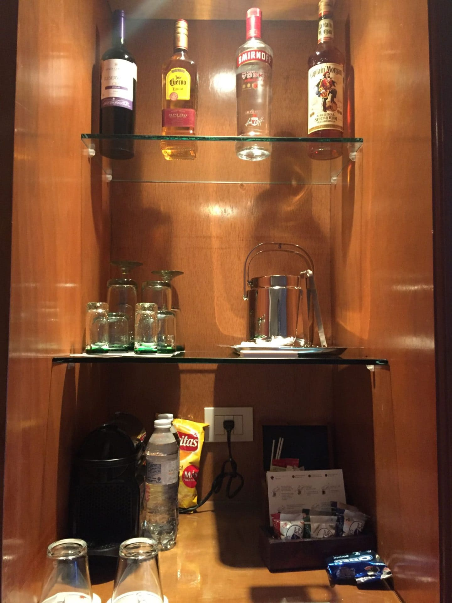 Mini bar in room at Excellence Riviera Cancun